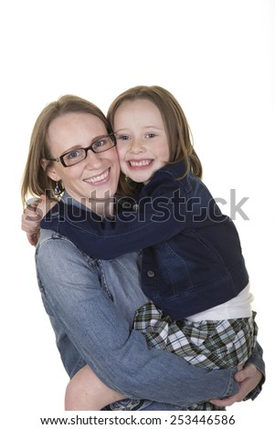 Mother and daughter isolated on white - stock photo