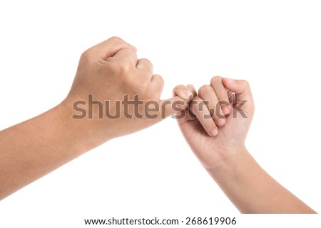 Mother and daughter making a pinkie promise isolated on white background. - stock photo