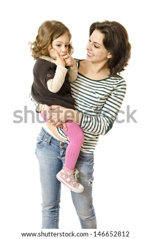 Mother and daughter on white background. Daughter is sucking thumb. - stock photo