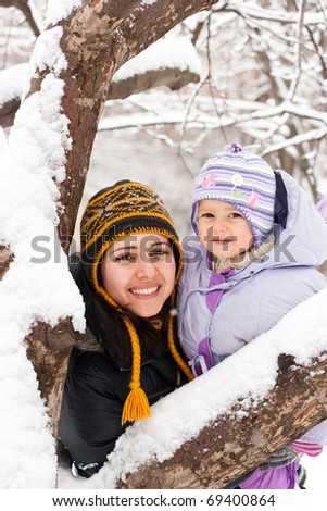 Mother and daughter outdoor in winter - stock photo