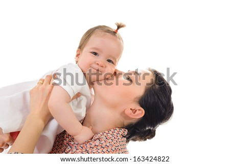 mother and daughter portrait Isolated on white background