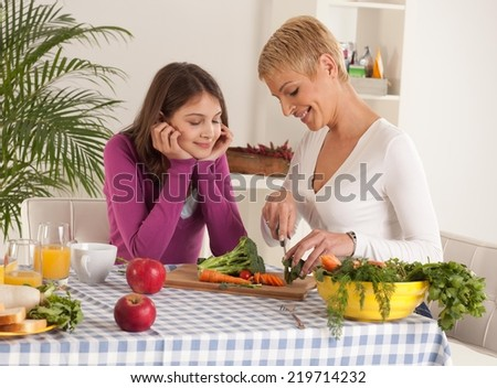 Mother and daughter preparing breakfast in their home.