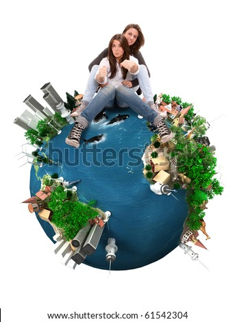 Mother and daughter pretending to drive on top of the Earth - stock photo
