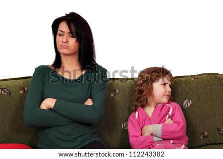 mother and daughter quarrel - stock photo