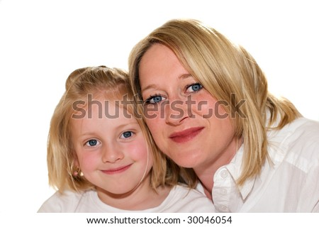 Mother and daughter smiling on white background into camera - stock photo