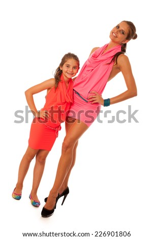 Mother and daughter talking isolated over white