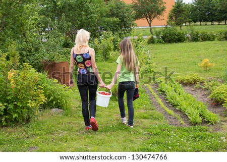 Mother and daughter walk home from the garden with a bucket full of strawberries - stock photo