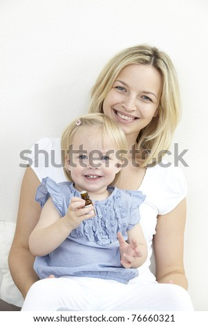 mother and daughter with globule