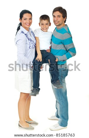 Mother and father carrying their boy and having fun isolated on white background - stock photo