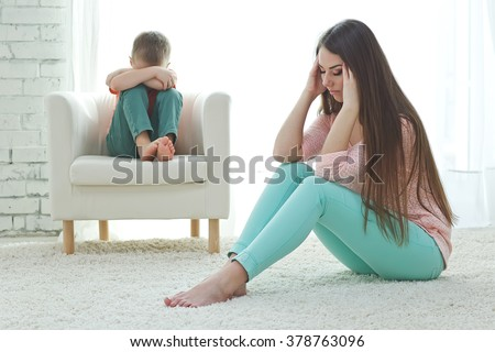 mother and her baby fell out - stock photo