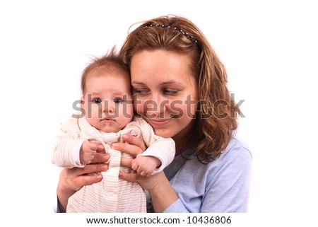 mother and her newborn - stock photo