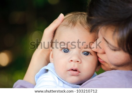 Mother and her son - stock photo