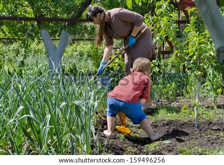 Mother and her young kindergarten aged son working together in the vegetable garden digging and weeding between the plants in the summer sun