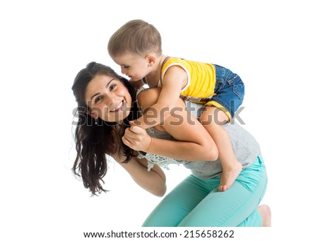 Mother and kid play isolated on white background. Motherhood concept. - stock photo