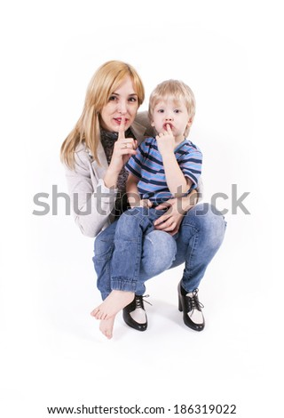 Mother and little son - stock photo