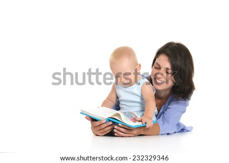 Mother and little son reading book on a white background - stock photo
