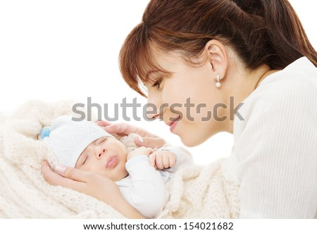 mother and newborn baby sleeping over white background - stock photo