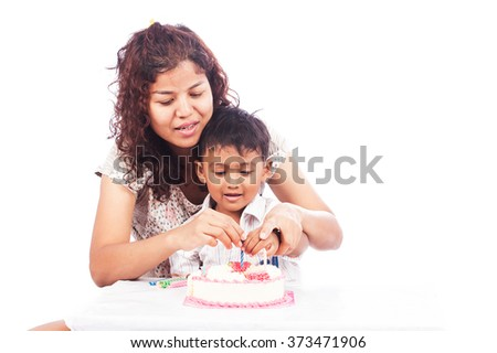 Mother and son Birthday With Cake
