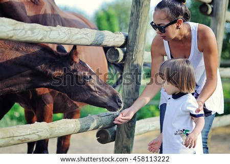 Mother and son feed horses with apple