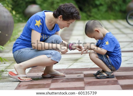 mother and son happy play - stock photo