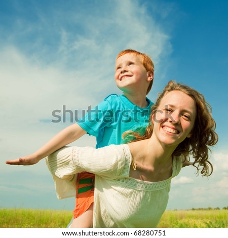 Mother and Son Having Fun - stock photo