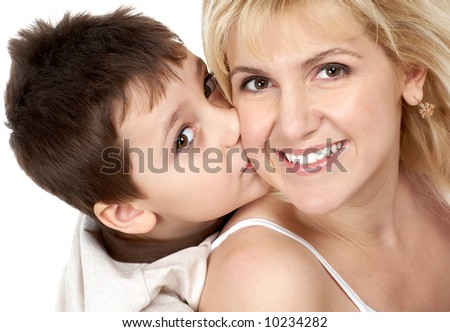 Mother and son. Isolated over white background
