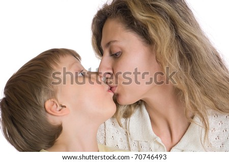 mother and son kissing
