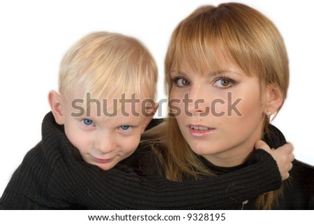 Mother and son looking at you with interest isolated on white - stock photo