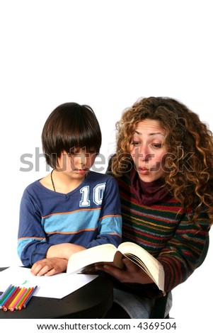 Mother and son reading - stock photo