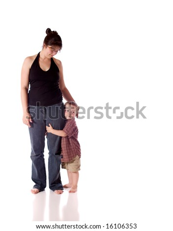 Mother and son standing close (white background)