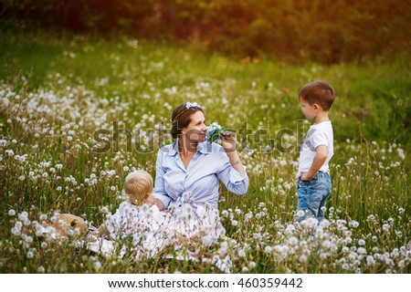 Mother and sons in the Park