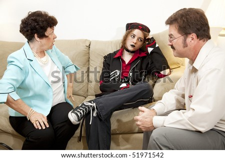 Mother and teen daughter in family therapy together. - stock photo