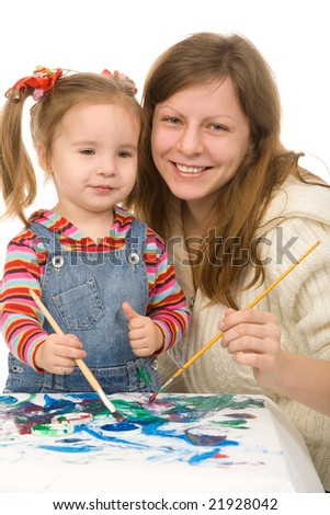 Mother and the daughter draw