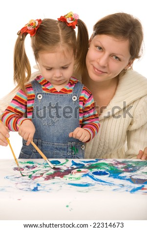 Mother and the daughter draw - stock photo