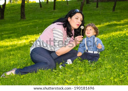 Mother and toddler boy sitting in grass and blowing out dandelion flower - stock photo