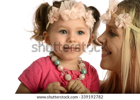 Mother and toddler portrait smiling isolated on a white background - stock photo