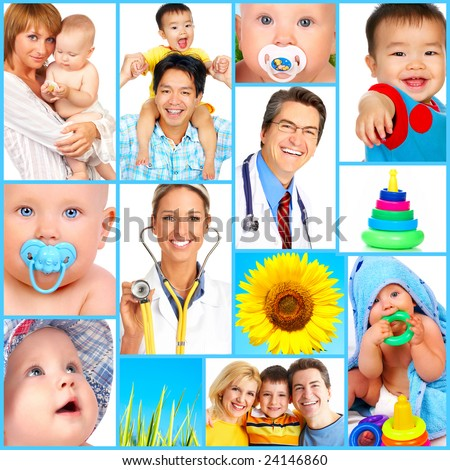 Mother, baby, children, family, health, doctor, medicine - stock photo