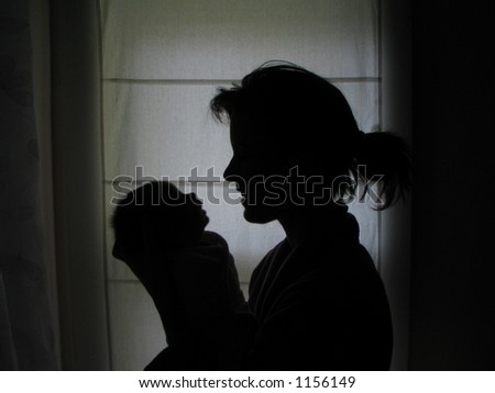 Mother & Baby Silhouette - stock photo