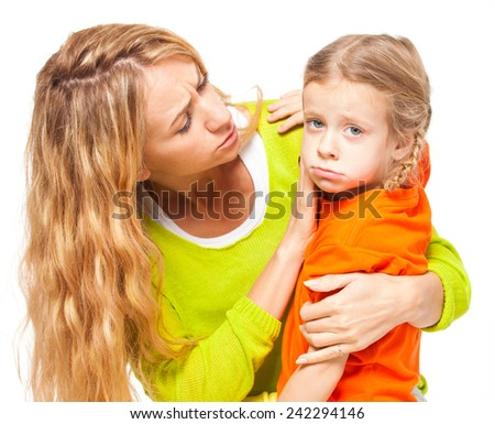 Mother comforting daughter. Female and child isolated on white. Sad daughter - stock photo