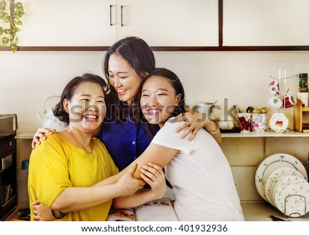 Mother Daughter Happiness Smiling Hug Concept