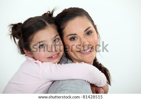 Mother daughter portrait - stock photo