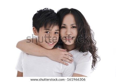 mother embrace her son on white background - stock photo