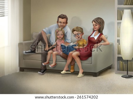 Mother, father, son and daughter are sitting on a sofa and reading a book. Raster illustration. - stock photo