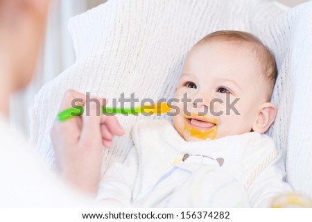 Mother feeding her lovely smiling baby boy with spoon - stock photo