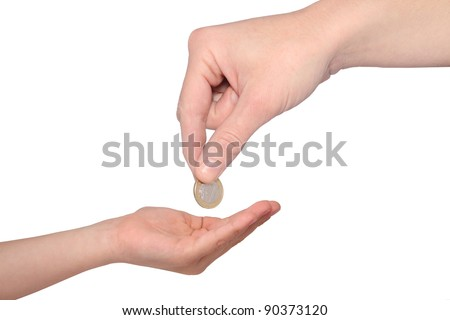 mother giving pocket money to son - stock photo
