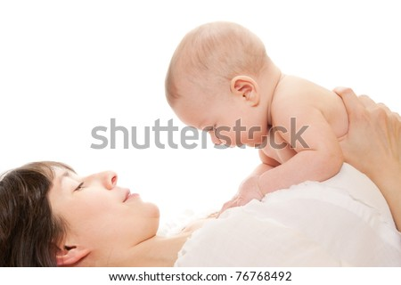 Mother hold newborn baby on white