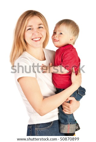 Mother holding a baby in her arms on white background