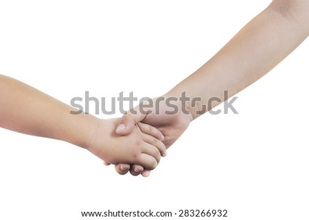 Mother holding a hand of her son isolated on white background