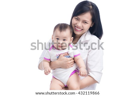 Mother holding adorable child baby girl, smiling and hugging, close up border, beauty of smile, female isolated on white, healthy kid joyful mom/ Happy family laughing faces  (focus on woman) - stock photo