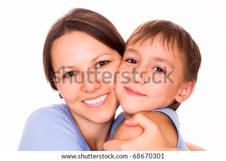mother holding her son on a white background